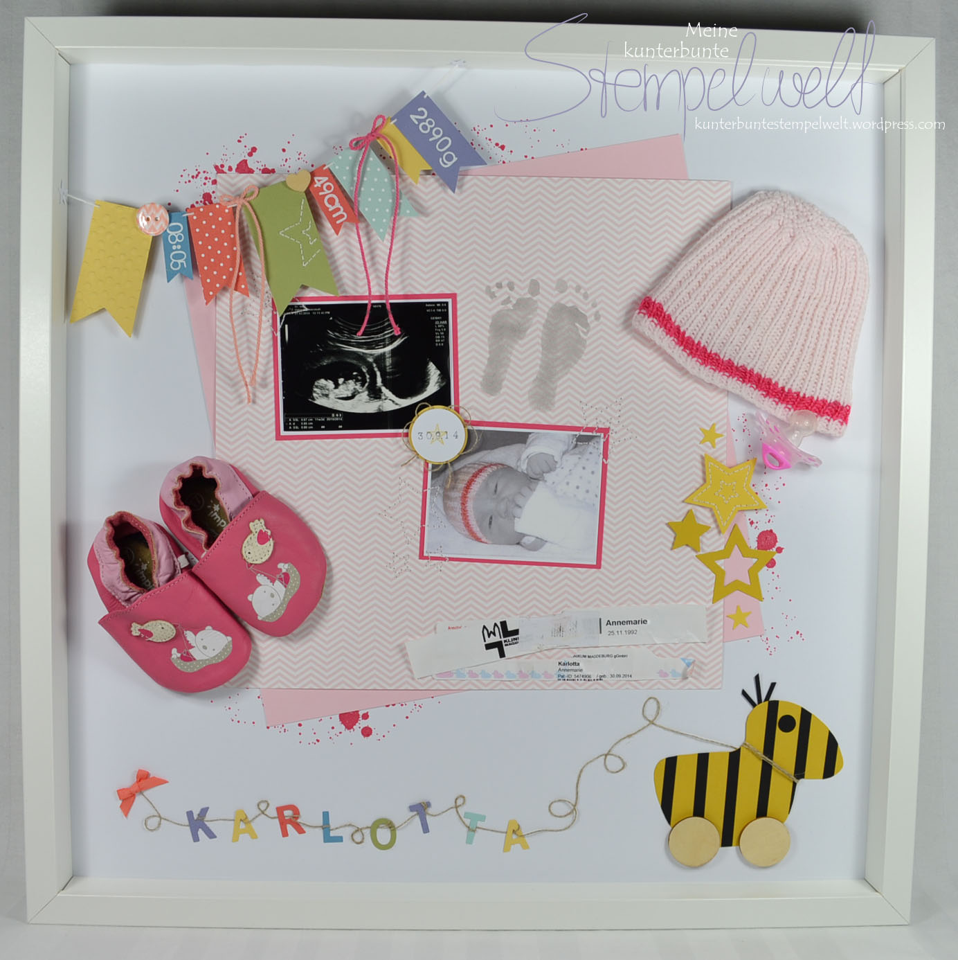 baby shadow box karlotta meine kunterbunte stempelwelt. Black Bedroom Furniture Sets. Home Design Ideas
