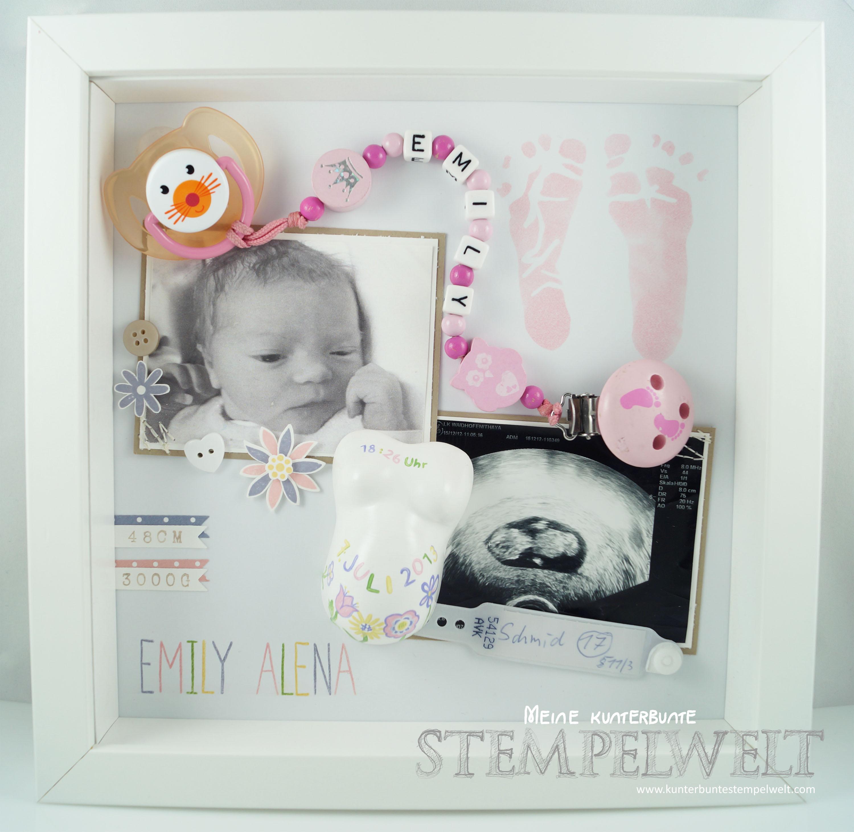 Baby-Shadow Box Emily Alena – Meine kunterbunte Stempelwelt