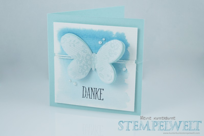 Stampin´ Up!_Dankeskärtchen_Schmetterlingsgruß_Thinlits Formen Schmetterlinge_Aquarell_Himmelblau_1