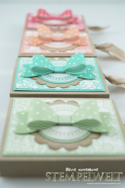 Stampin Up!_RittersportZiehverpackung-Goodie-SomethingLacy-InColor2013-2015_Elementstanze Schleife_Savanne_Altrosé_Rhabarberrot_Jade_Pistazie_Frühlingsgruß_Ei Ei Ei_1