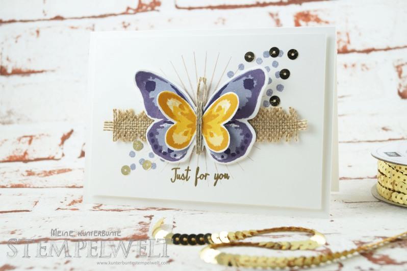 Stampin´ Up!_Watercolor Wings_Bold Butterfly Framelits_Butterfly Thinlits_Blauregen_Pflaumenblau_Aubergine_Safrangelb_Curry Gelb_Ockerbraun_Paillettenband_Jute Band_1