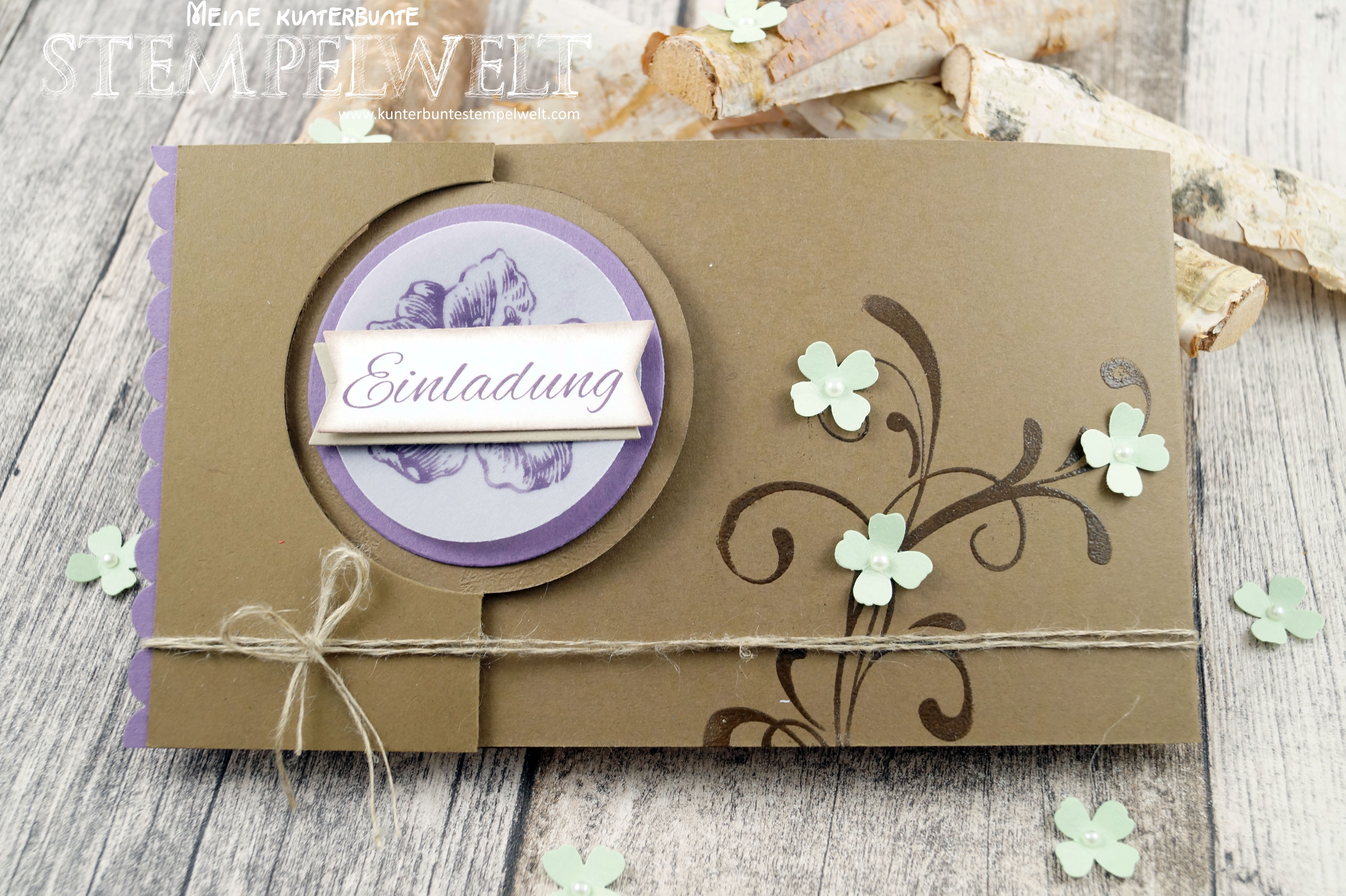 Stampin´ Up!_Everything  Eleanor_Hochzeit_Taufe_Kombieinladung_Wildleder_Pistazie_Pflaumenblau_Pop  Uo Card_Thinlits Pop Up Karte Kreis_1