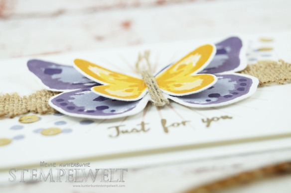 Stampin´ Up!_Watercolor Wings_Bold Butterfly Framelits_Butterfly Thinlits_Blauregen_Pflaumenblau_Aubergine_Safrangelb_Curry Gelb_Ockerbraun_Paillettenband_Jute Band_2
