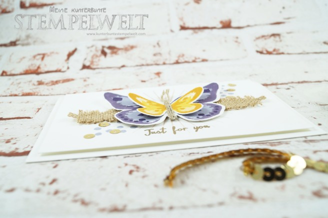 Stampin´ Up!_Watercolor Wings_Bold Butterfly Framelits_Butterfly Thinlits_Blauregen_Pflaumenblau_Aubergine_Safrangelb_Curry Gelb_Ockerbraun_Paillettenband_Jute Band_3