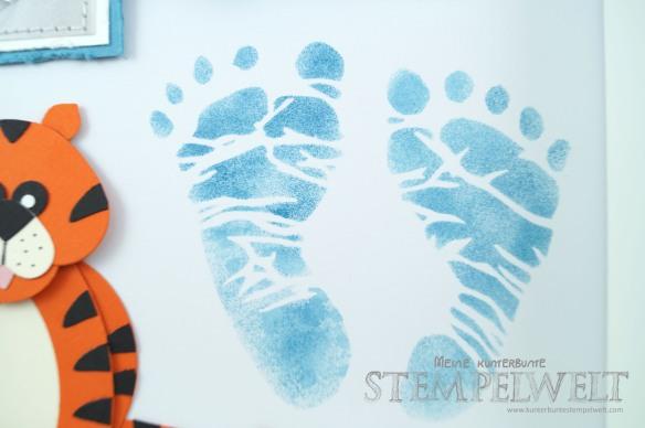 Stampin´ Up!_Baby Shadow Box_Baby Erinnerungsbild_Geburt Erinnerung_Fußabdruck_Mini Babybauch_Punch Art_Tiger_Fähnchenstanze_Fransenschere_3