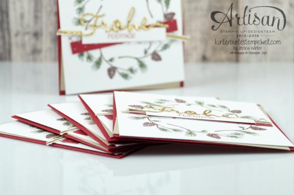 Stampin´ Up! - Wonderland - Designerpapier im Block Fröhliche Feiertage - Chili - Savanne - Thinlitsformen Weihnachtliche Worte - 4