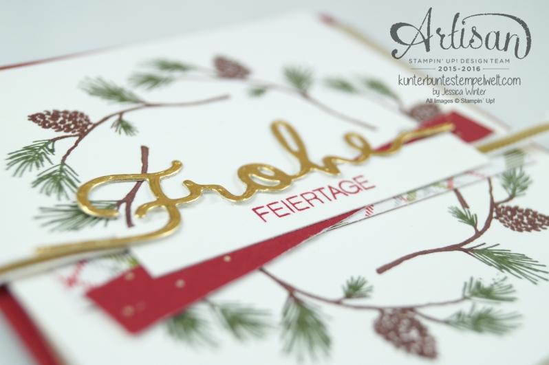 Stampin´ Up! - Wonderland - Designerpapier im Block Fröhliche Feiertage - Chili - Savanne - Thinlitsformen Weihnachtliche Worte - 2