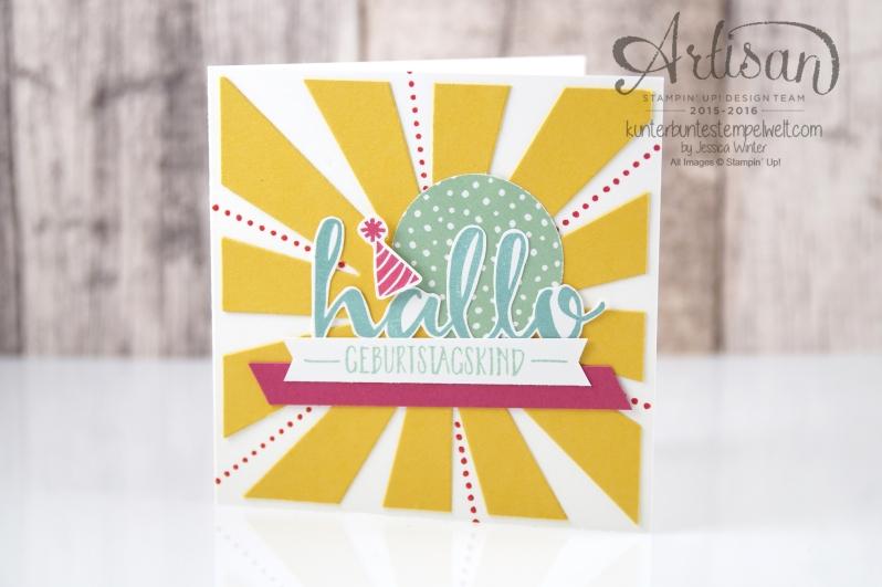 Stampin´ Up! - Artisan Design Team - Blog Hop - Thinlitsform Sonnenstrahlen - Hallo - Sonnengruß - 1