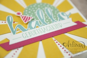 Stampin´ Up! - Artisan Design Team - Blog Hop - Thinlitsform Sonnenstrahlen - Hallo - Sonnengruß - 3