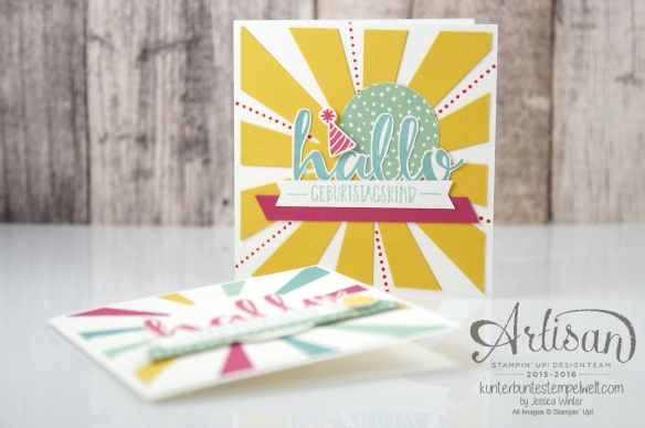 Stampin´ Up! - Artisan Design Team - Blog Hop - Thinlitsform Sonnenstrahlen - Hallo - Sonnengruß - 7