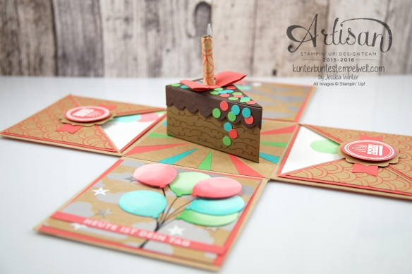 Stampin´ Up! - Artisan Design Team - besonderes Designerpapier Sommerglanz - Party Ballons - Thinlitsform Tortenstück - 1