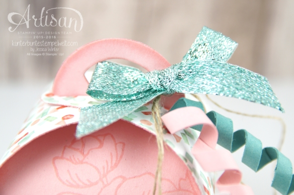 Stampin´Up! - Artisan Design Team - Curvy Ceepscake - Zierschachtel für Andenken - Geburtstagsblumen - Glitterband -3