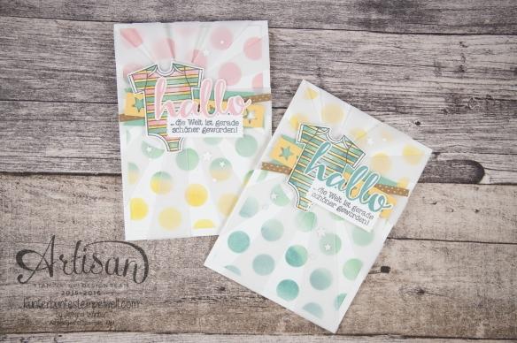 Stampin´ Up! - Artisan Blog Hop - Zum Nachwuchs - Thilitsform Sonnenstrahlen, Sternenkonfetti - Dekoschablone - Aqua Painter