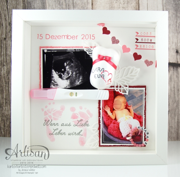 Stampin´ Up! - Shadow Box - Erinnerungsbild - Thinlits Rosengarten - Back to Basic Alphabet - 1