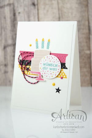 Stampin´ Up! - Artisan Design Team - Party Grüße - Lack-Pünktchen - Washi Tape - 3