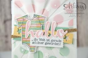 Stampin´ Up! - Artisan Blog Hop - Zum Nachwuchs - Thilitsform Sonnenstrahlen, Sternenkonfetti - Dekoschablone - Aqua Painter - 3
