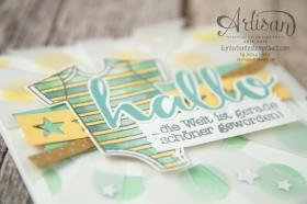 Stampin´ Up! - Artisan Blog Hop - Zum Nachwuchs - Thilitsform Sonnenstrahlen, Sternenkonfetti - Dekoschablone - Aqua Painter - 6