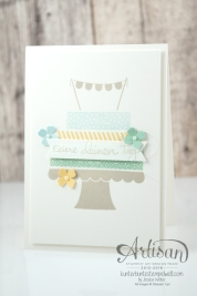 Stampin´ Up! - Build a Birtchday - Geburtstagspuzzle - Itty Bitty Stanzenpaket - Fähnchenstanze - Minz Makrone - Himmelblau - Safrangelb - Saharasand - 3