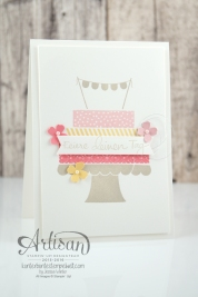 Stampin´ Up! - Build a Birtchday - Geburtstagspuzzle - Itty Bitty Stanzenpaket - Fähnchenstanze - Kirschblüte - Flamingorot - Safrangelb - Saharasand - 3