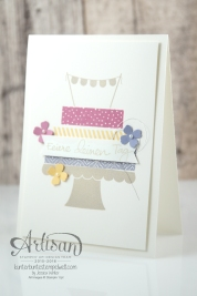 Stampin´ Up! - Build a Birtchday - Geburtstagspuzzle - Itty Bitty Stanzenpaket - Fähnchenstanze - Blauregen - Zarte Pflaume - Safrangelb - Saharasand - 3
