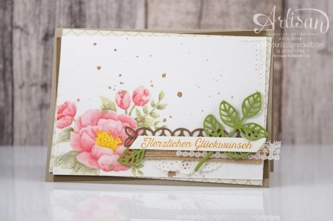 Stampin´ Up! - Artisan Design Team - Geburtstagsblumen - Thinlits Blütenpoesie - Designerpapier Marokko - 1