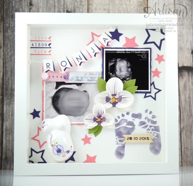 Stampin´ Up! - Shadow Box - Erinnerungsbild zur Geburt - Orchidee - Sterne - Mini Baby Bauch - 1