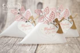 Stampin´ Up! - Thinlits Blütenpoesie - Dreicksverpackung - Sourcream Container - Gastgeschenk zur Taufe - 3