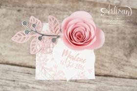 Stampin´ Up! - Gastgeschenk Taufe - Thinlits Blütenpoesie - Spiralblume - Diamant Verpackung - Für Lieblingsmenschen - 3
