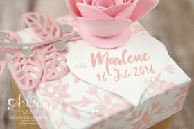 Stampin´ Up! - Gastgeschenk Taufe - Thinlits Blütenpoesie - Spiralblume - Diamant Verpackung - Für Lieblingsmenschen - 2