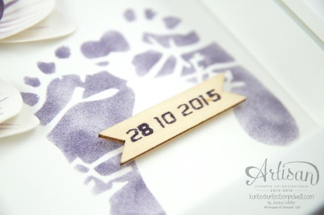 Stampin´ Up! - Shadow Box - Erinnerungsbild zur Geburt - Orchidee - Sterne - Mini Baby Bauch - 5
