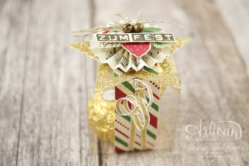 """Satmpin´ Up! - Artisan Blog Hop - Weihnachtsmarkt - Besonderes Designerpapier """"Für Weihnachten"""" - transparente Mini-Geschenkschachteln - 1"""