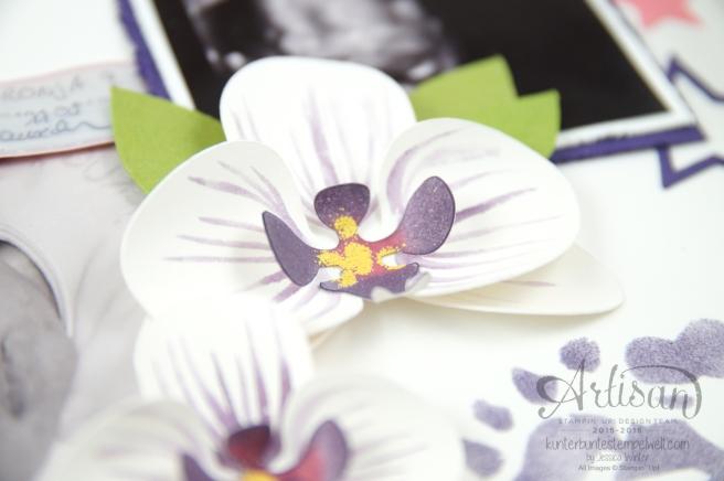 Stampin´ Up! - Shadow Box - Erinnerungsbild zur Geburt - Orchidee - Sterne - Mini Baby Bauch - 2