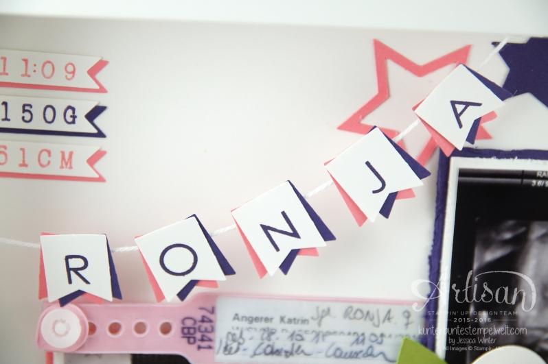 Stampin´ Up! - Shadow Box - Erinnerungsbild zur Geburt - Orchidee - Sterne - Mini Baby Bauch - 4