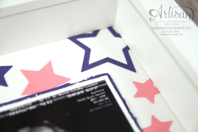 Stampin´ Up! - Shadow Box - Erinnerungsbild zur Geburt - Orchidee - Sterne - Mini Baby Bauch - 3