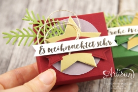 Stampin´ Up! - Verpackung für Ferrero Küsschen - Designerpapier im Block gemütliche Weihnacht, Banner Duo Stanze - 1