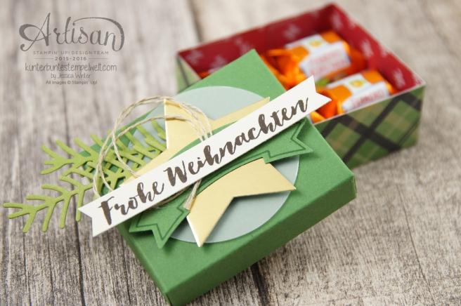 Stampin´ Up! - Verpackung für Ferrero Küsschen - Designerpapier im Block gemütliche Weihnacht, Banner Duo Stanze - 2