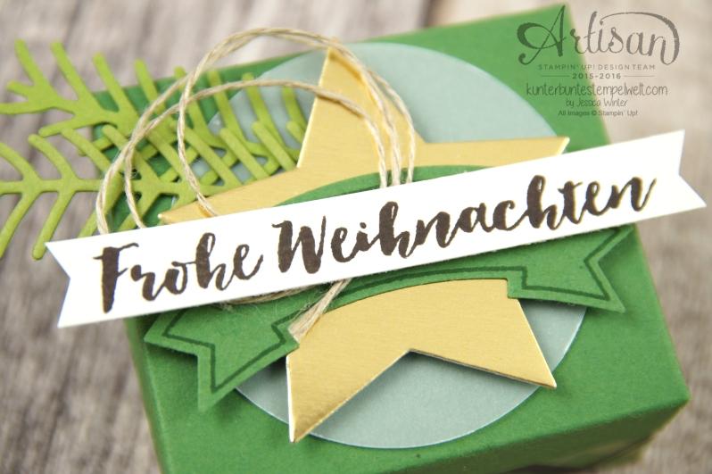 Stampin´ Up! - Verpackung für Ferrero Küsschen - Designerpapier im Block gemütliche Weihnacht, Banner Duo Stanze - 3
