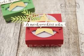Stampin´ Up! - Verpackung für Ferrero Küsschen - Designerpapier im Block gemütliche Weihnacht, Banner Duo Stanze - 4