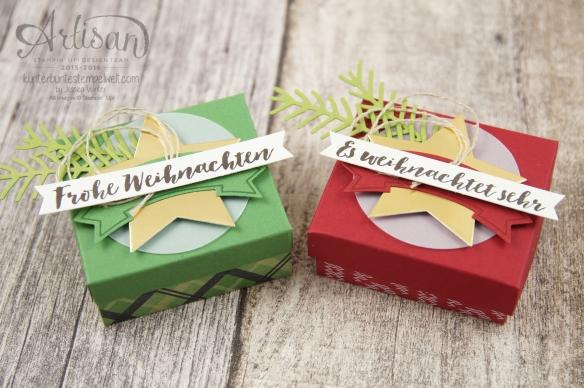 Stampin´ Up! - Verpackung für Ferrero Küsschen - Designerpapier im Block gemütliche Weihnacht, Banner Duo Stanze - 5