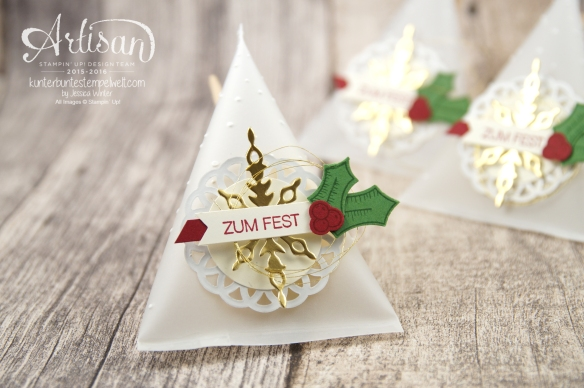 Stampin´ Up! - Adventkalender - Sourcream Container - Thinlitsformen Sternenzauber - Metalisches Zierdeckchen - Elementstanze Adventschmuck - 1