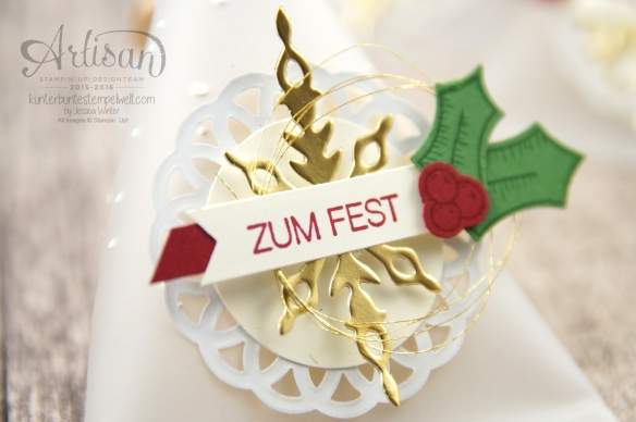 Stampin´ Up! - Adventkalender - Sourcream Container - Thinlitsformen Sternenzauber - Metalisches Zierdeckchen - Elementstanze Adventschmuck - 2