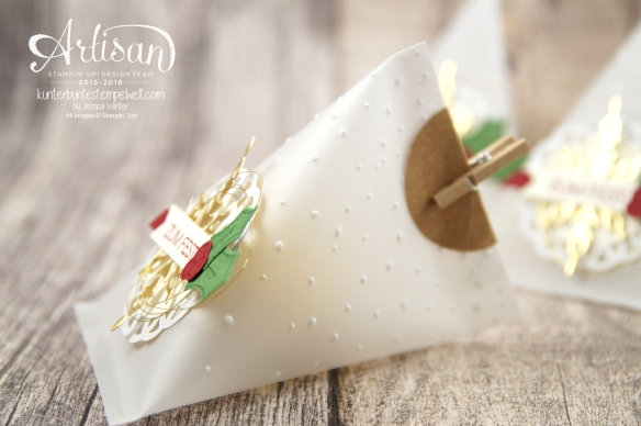 Stampin´ Up! - Adventkalender - Sourcream Container - Thinlitsformen Sternenzauber - Metalisches Zierdeckchen - Elementstanze Adventschmuck - 3