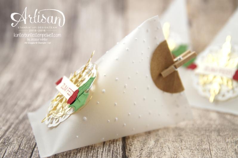 Stampin´ Up! - Adventkalender - Sourcream Container - Thinlitsformen Sternenzauber - Metalisches Zierdeckchen - Elementstanze Adventschmuck - 3
