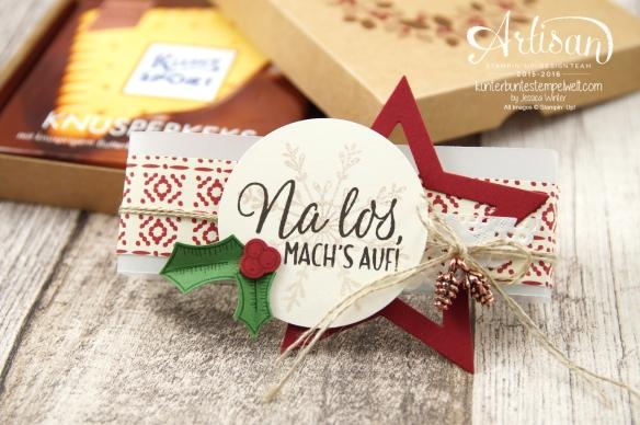 Stampin´ Up! - Ritter Sport Verpackung - Elementstanze Adventschmuck - Willkommen Weihnacht - Drauf und Dran - 3