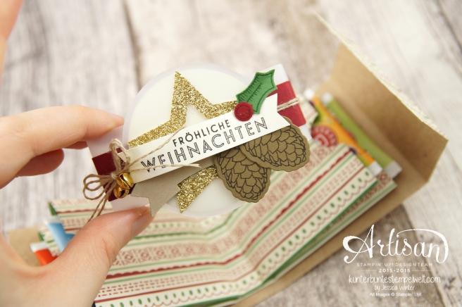 Stampin´ Up! - besonderes Designerpapier für Weihnachten - Elementstantze Adventschmuck - Thinlitsformen Tannen und Zapfen - 3