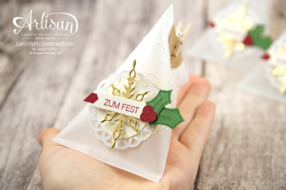 Stampin´ Up! - Adventkalender - Sourcream Container - Thinlitsformen Sternenzauber - Metalisches Zierdeckchen - Elementstanze Adventschmuck - 4