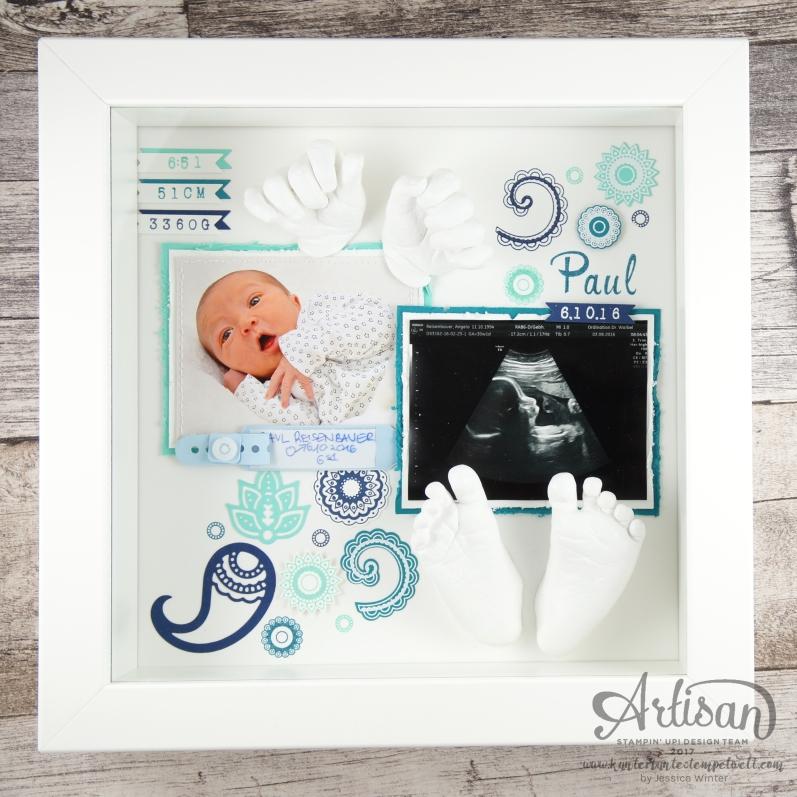 Stampin´ Up - Shadow Box - Hand und Fußabruck - Baby Erinnerung - Paisley & Posies - 1