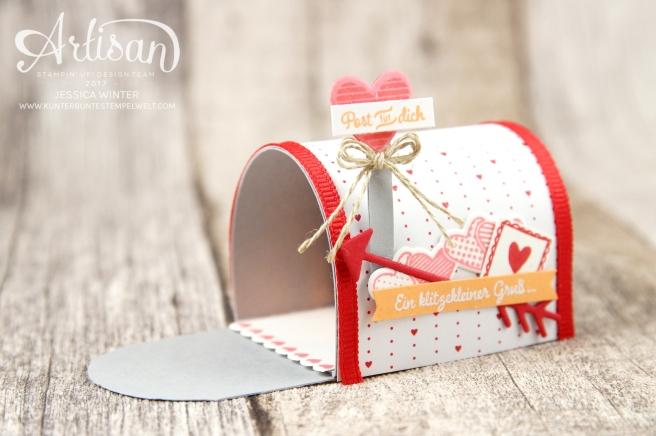 Stampin´ Up!-Mit Gruß und Kuss-Framelitsformen Liebesgrüße-Designerpapier im Block Liebe Grüße- Mini Mail Box-Anleitung-1