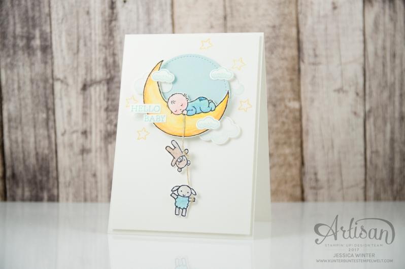 Stampin´ Up - Moon Baby - Aquarellstifte - Farbkarton Seidenglanz - Abgehoben - Framelitsformen Stickmuster - 1