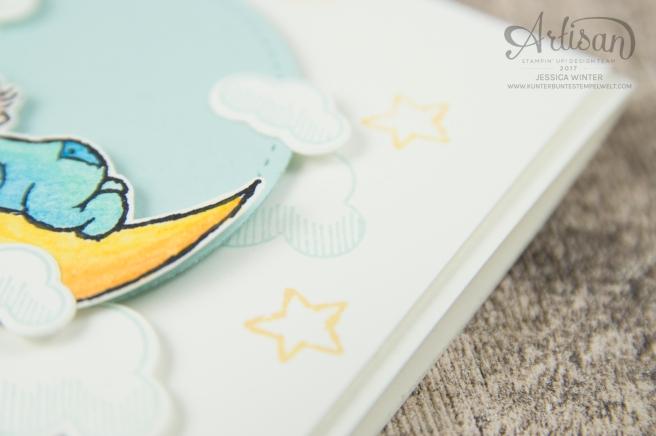 Stampin´ Up - Moon Baby - Aquarellstifte - Farbkarton Seidenglanz - Abgehoben - Framelitsformen Stickmuster - 4